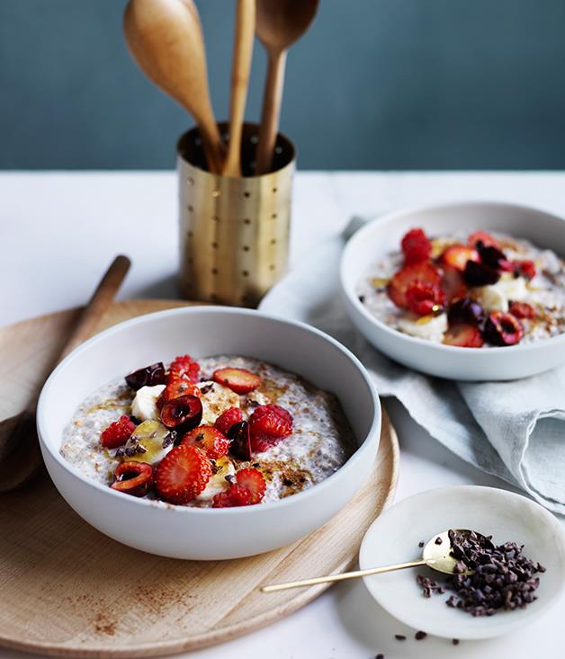 "[**Almond milk Bircher muesli with banana, berries and cacao nibs**](http://www.gourmettraveller.com.au/recipes/browse-all/almond-milk-bircher-muesli-with-banana-berries-and-cacao-nibs-12697|target=""_blank"")"
