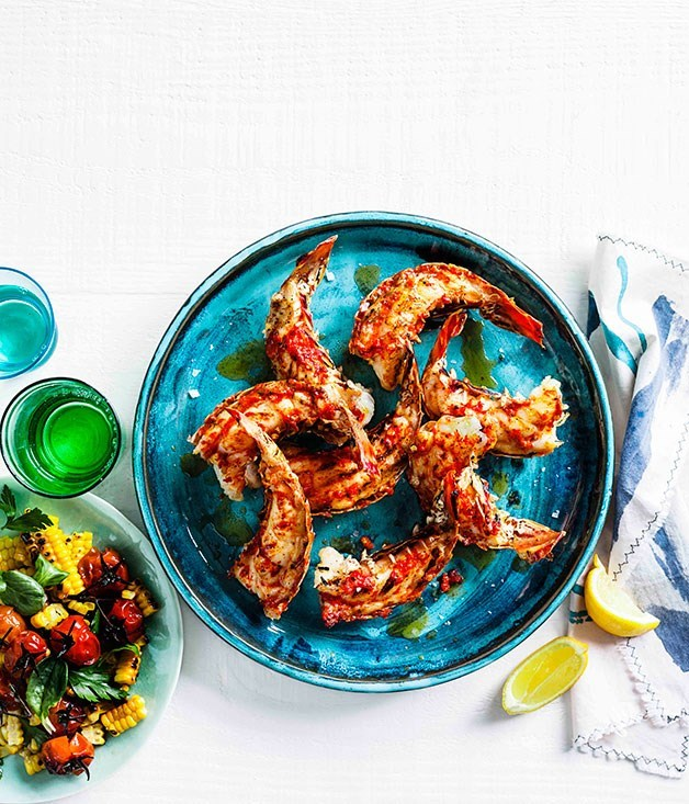 **Grilled lobster tails with roast chilli butter and corn salad**