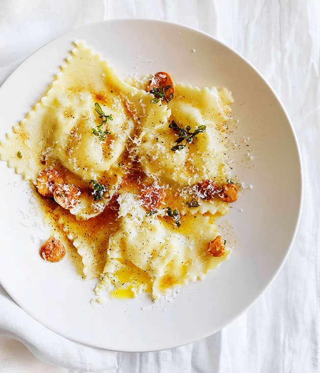 **Quail egg and ricotta ravioli**