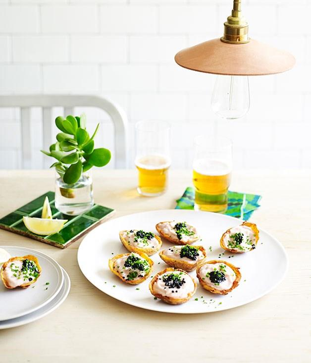 """[**Potato skins with whipped cod roe**](https://www.gourmettraveller.com.au/recipes/chefs-recipes/potato-skins-with-whipped-cod-roe-9186