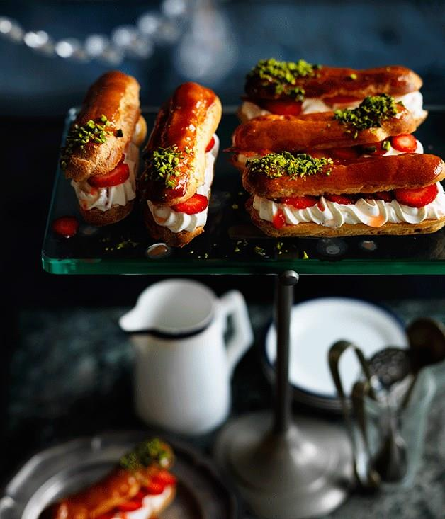 """[**Crushed strawberry and pistachio eclairs**](https://www.gourmettraveller.com.au/recipes/browse-all/crushed-strawberry-and-pistachio-eclairs-12606