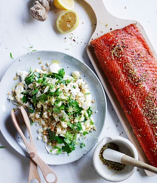 Citrus-cured salmon with lemon labne and cauliflower salad