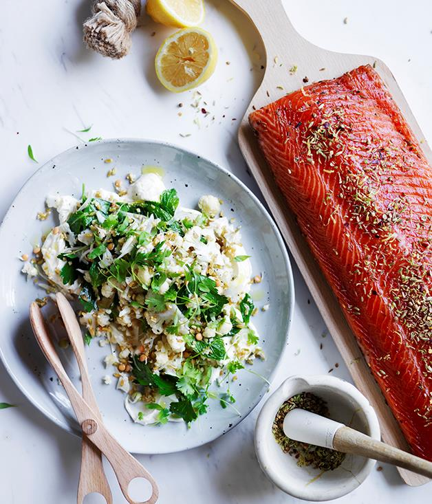"[Citrus-cured salmon with lemon labne and cauliflower salad](http://www.gourmettraveller.com.au/recipes/browse-all/citrus-cured-salmon-with-lemon-labne-and-cauliflower-salad-12707|target=""_blank"")"