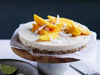 Coconut-macadamia-lime tart with mango