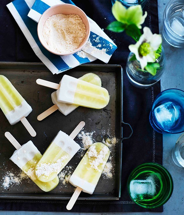 **Pine-lime coconut pops with passionfruit sherbet**