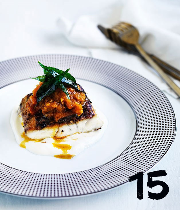 **Spiced barramundi with tomato-chilli pickle**