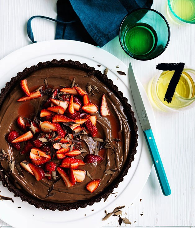 **Curtis Stone's dark chocolate and strawberry tart**