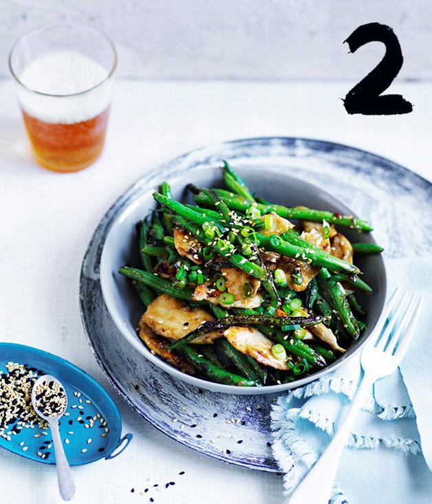 **Miso chicken and green beans with sesame**