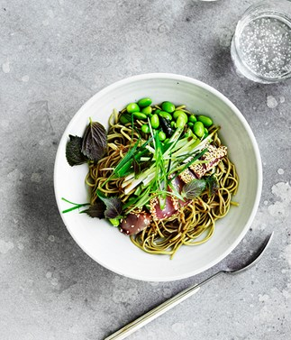 Sesame-crusted bonito and edamame with green-tea soba noodles