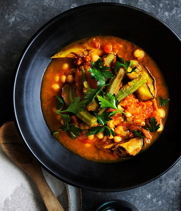 """**[Quick okra, eggplant and turmeric stew](https://www.gourmettraveller.com.au/recipes/browse-all/quick-okra-eggplant-and-turmeric-stew-12706 target=""""_blank"""")**"""