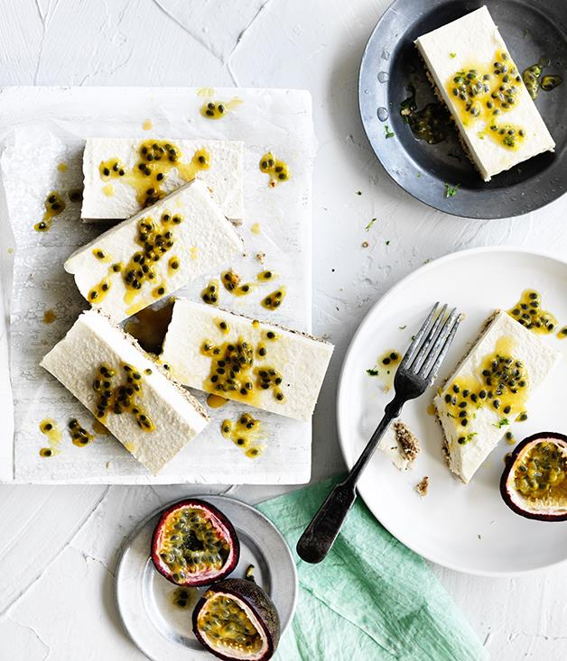 "**[Passionfruit coconut slice](http://www.gourmettraveller.com.au/recipes/browse-all/passionfruit-coconut-slice-12713|target=""_blank"")**"