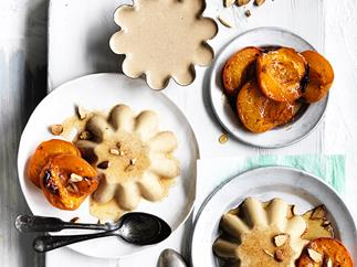 Honey and almond-milk blancmange with honey-roasted apricots