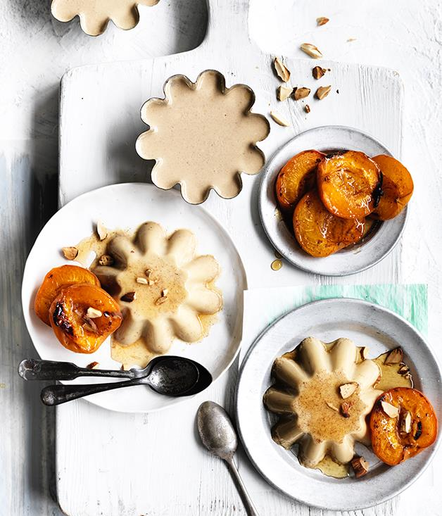 "**[Honey and almond-milk blancmange with honey-roasted apricots](https://www.gourmettraveller.com.au/recipes/browse-all/honey-and-almond-milk-blancmange-with-honey-roasted-apricots-12705|target=""_blank"")**"