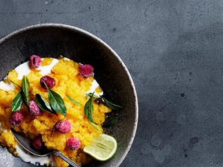 Mango granita with lemongrass, raspberries and yoghurt