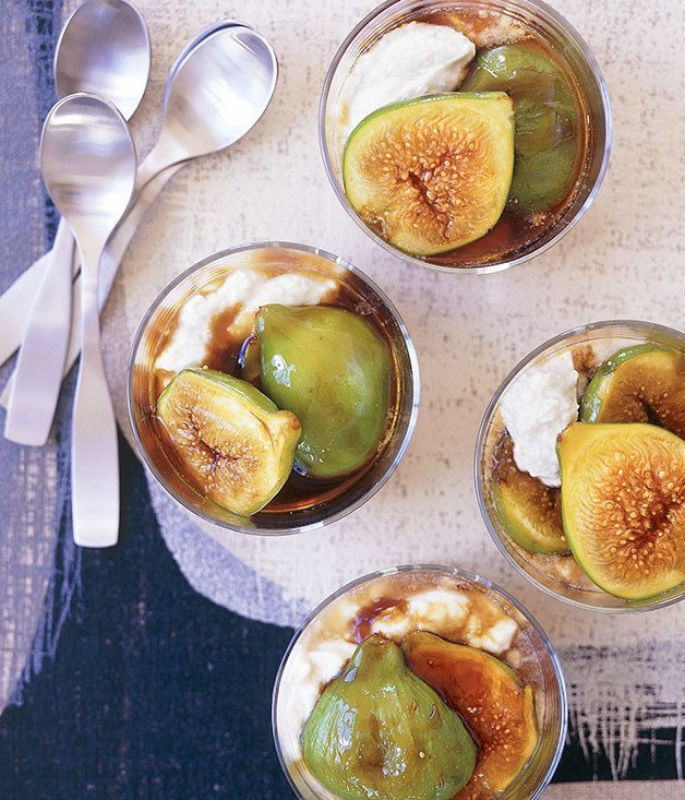 "[**Balsamic caramel figs with ricotta mousse**](https://www.gourmettraveller.com.au/recipes/fast-recipes/balsamic-caramel-figs-with-ricotta-mousse-9383|target=""_blank"")"
