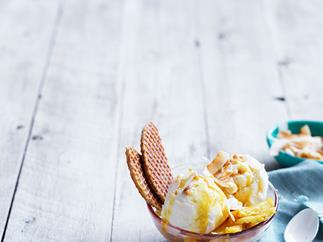 Coconut sundae with pineapple caramel and macadamia nuts