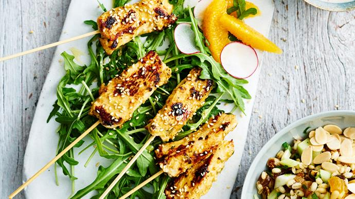Como Shambhala's spiced chicken skewers with barley, fruit and nut salad