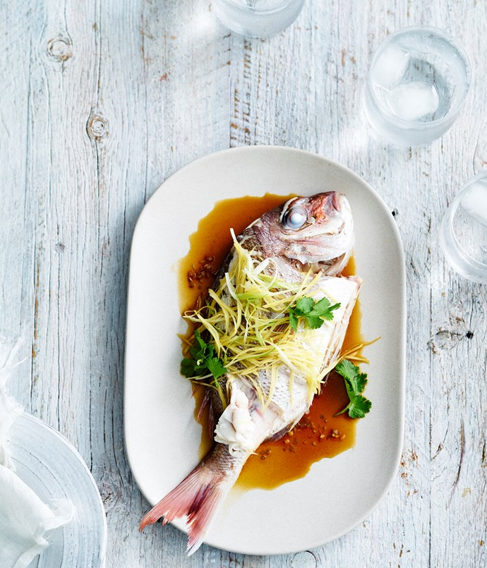 """**[Ricky & Pinky's steamed snapper with coriander and ginger](https://www.gourmettraveller.com.au/recipes/chefs-recipes/ricky-and-pinkys-steamed-snapper-with-coriander-and-ginger-9300 target=""""_blank"""")**"""