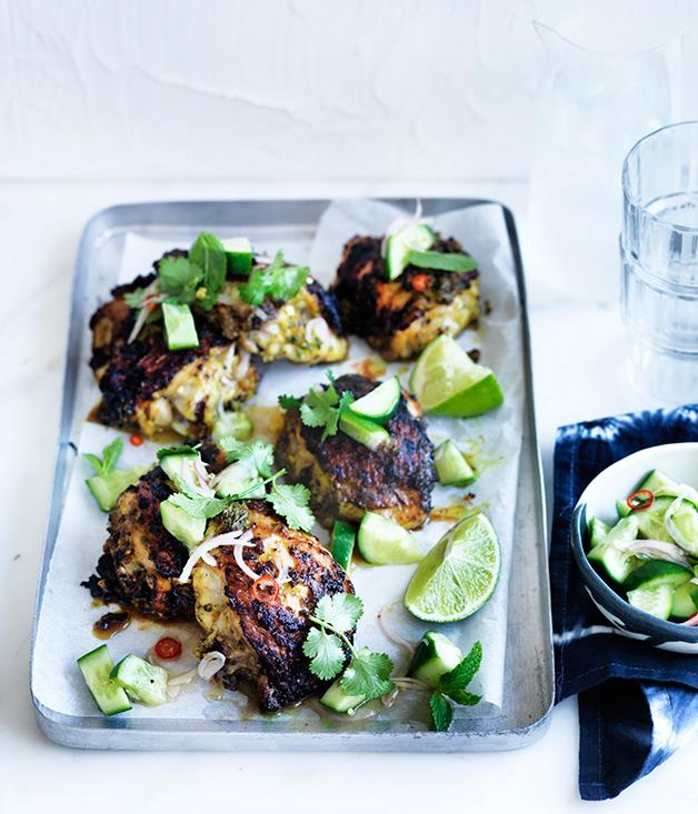 "**[Turmeric chicken with cucumber salad](http://www.gourmettraveller.com.au/recipes/fast-recipes/turmeric-chicken-with-cucumber-salad-13796|target=""_blank"")**"