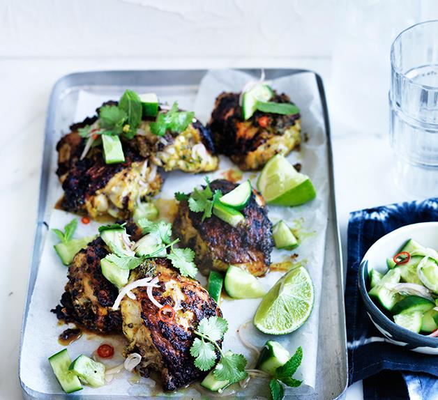 Turmeric chicken with cucumber salad