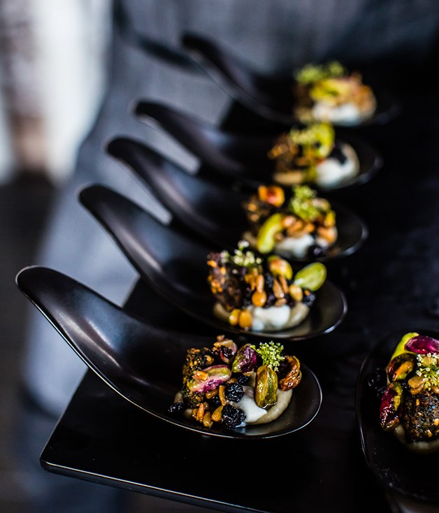 **Canapés by Peter Gilmore** Roastedeggplant salad, falafel, currants and pistachio by Peter Gilmore.