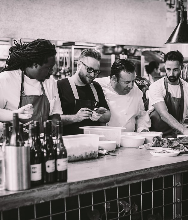 **Tight quarters** It's all hands on deck in the kitchen with Paul Carmichael, Clayton Wells, Peter Gilmore and Andy Allen.