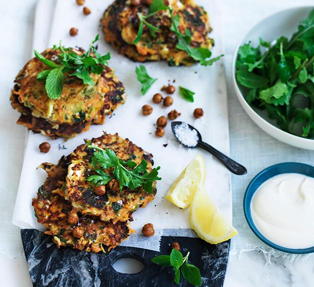 Carrot, fennel and feta fritters