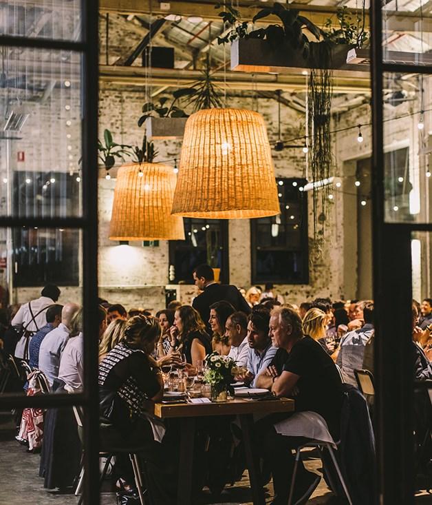 **Dinner conversation** Three Blue Ducks' Rosebery venue provided the backdrop for Australia's #CookForSyria launch event.