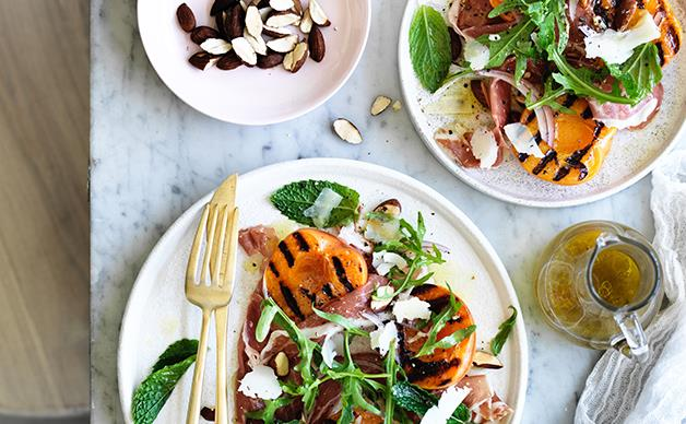 Grilled apricot salad with jamón and Manchego