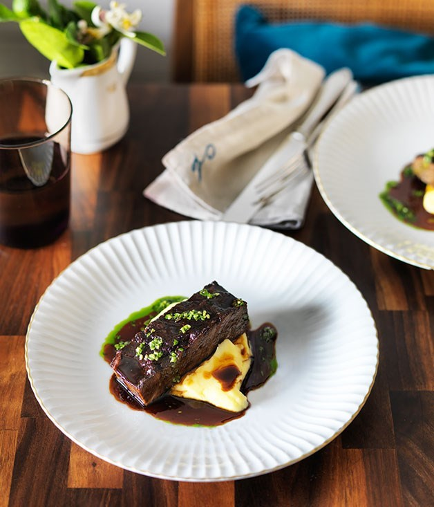 **Braised short ribs with pomme purée and gremolata**