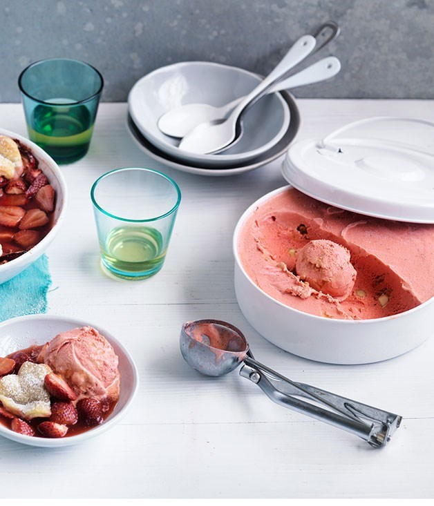 **No-churn strawberry and creme fraîche ice-cream with caramelised macadamia nuts**