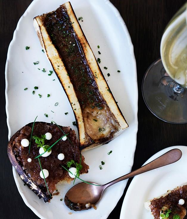 **Roasted bone marrow with sweet and sour shallots and buttermilk**