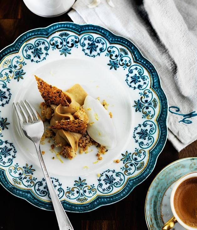 **Dulcey crémeux with hemp seeds and crème fraîche yuzu sorbet**