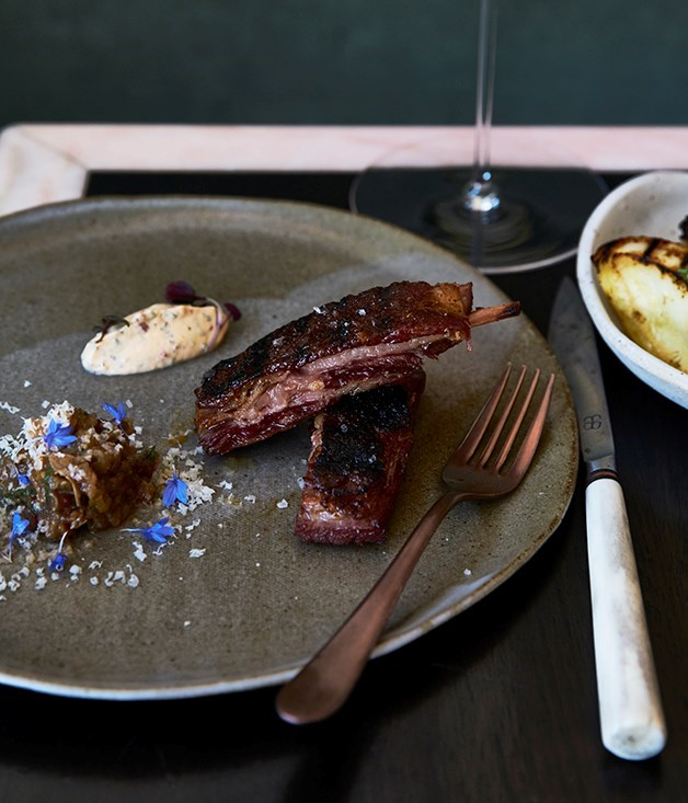 **Barbecued lamb ribs with smoked eggplant and yoghurt sauce**