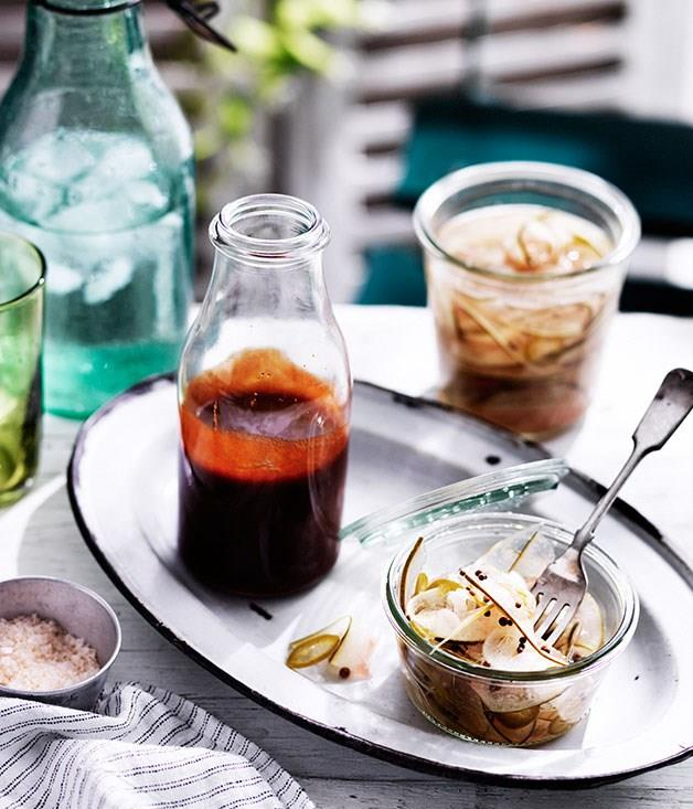 "**Texas-style barbecue sauce** _Pictured with Curtis Stone's [watermelon rind pickles](http://www.gourmettraveller.com.au/recipes/recipe-search/chefs-recipes/2016/1/watermelon-rind-pickles/ ""Watermelon rind pickles"")._"