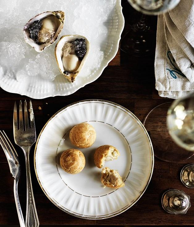 "**Gougères with jerusalem artichoke purée** _Pictured with Curtis Stone's [oysters with champagne and caviar](http://www.gourmettraveller.com.au/recipes/recipe-search/chefs-recipes/2015/9/oysters-with-champagne-and-caviar/ ""Oysters with champagne and caviar.""). _"