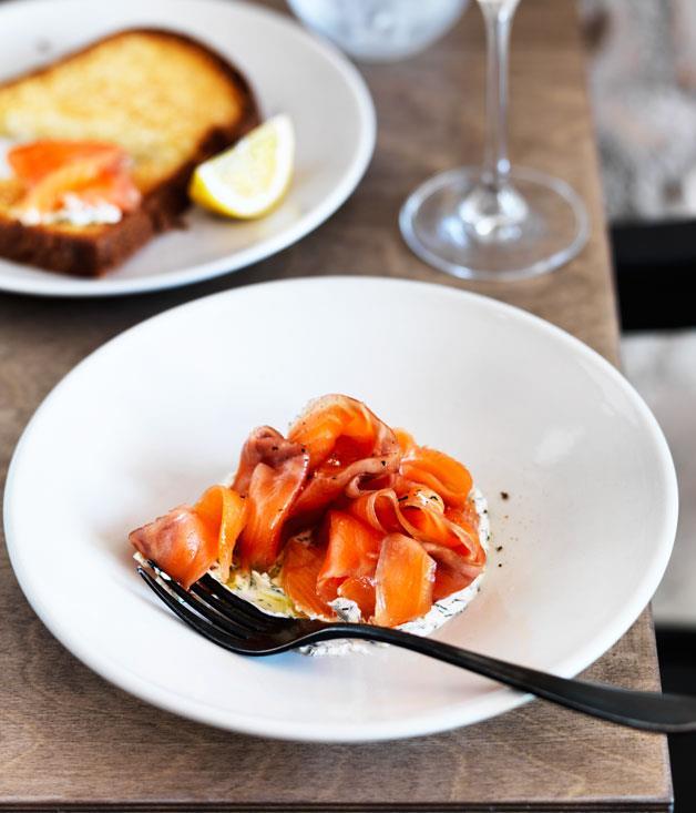 "**[Saint Peter's cured ocean trout, fennel crème fraîche and brioche toast](https://www.gourmettraveller.com.au/recipes/chefs-recipes/cured-ocean-trout-fennel-creme-fraiche-and-brioche-toast-8577|target=""_blank"")**"
