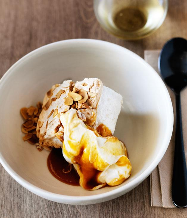 "**[Saint Peter's almond meringue with white peach caramel](https://www.gourmettraveller.com.au/recipes/chefs-recipes/saint-peters-almond-meringue-with-white-peach-caramel-8581|target=""_blank"")**"