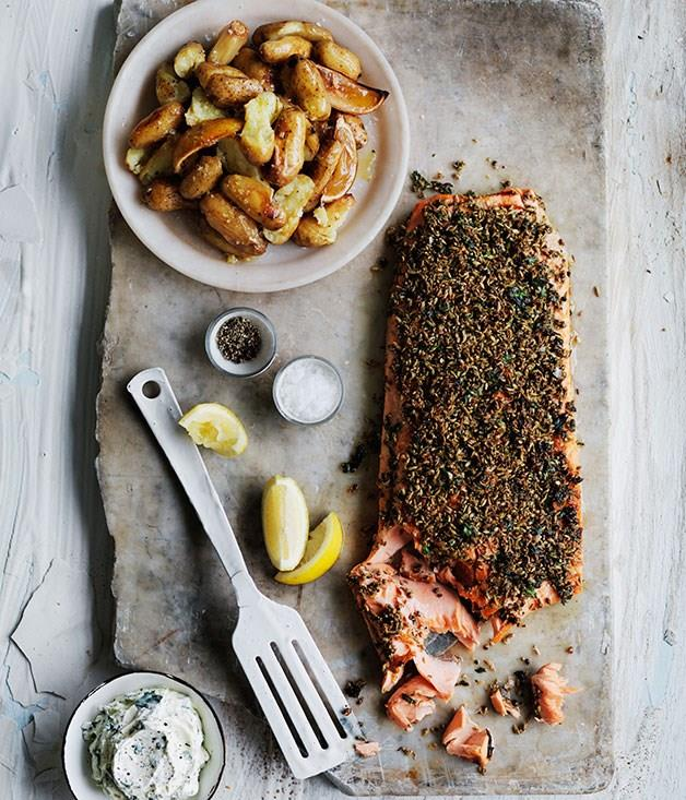 "[**Fennel and dill-crusted ocean trout with lemon potatoes**](https://www.gourmettraveller.com.au/recipes/browse-all/fennel-and-dill-crusted-ocean-trout-with-lemon-potatoes-11757|target=""_blank"")"