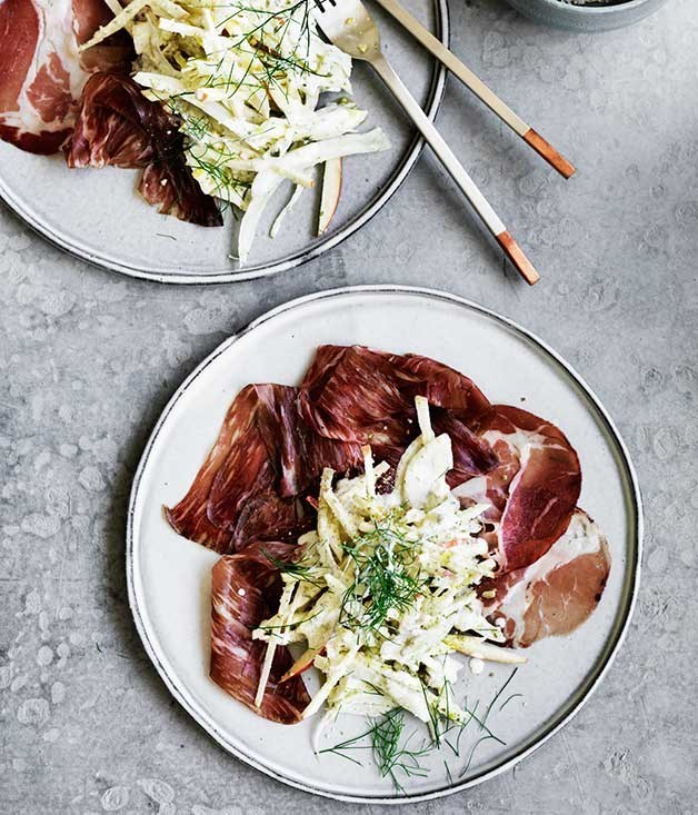 "[**Coppa with fennel, apple and pumpkin-seed cream**](https://www.gourmettraveller.com.au/recipes/browse-all/coppa-with-fennel-apple-and-pumpkin-seed-cream-12496|target=""_blank"")"