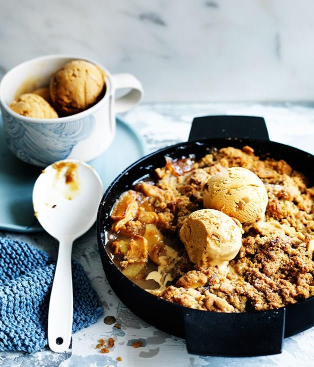 "[**Spiced fuji apple crumble with dulce de leche ice-cream**](https://www.gourmettraveller.com.au/recipes/browse-all/spiced-fuji-apple-crumble-with-dulce-de-leche-ice-cream-12522|target=""_blank"")"