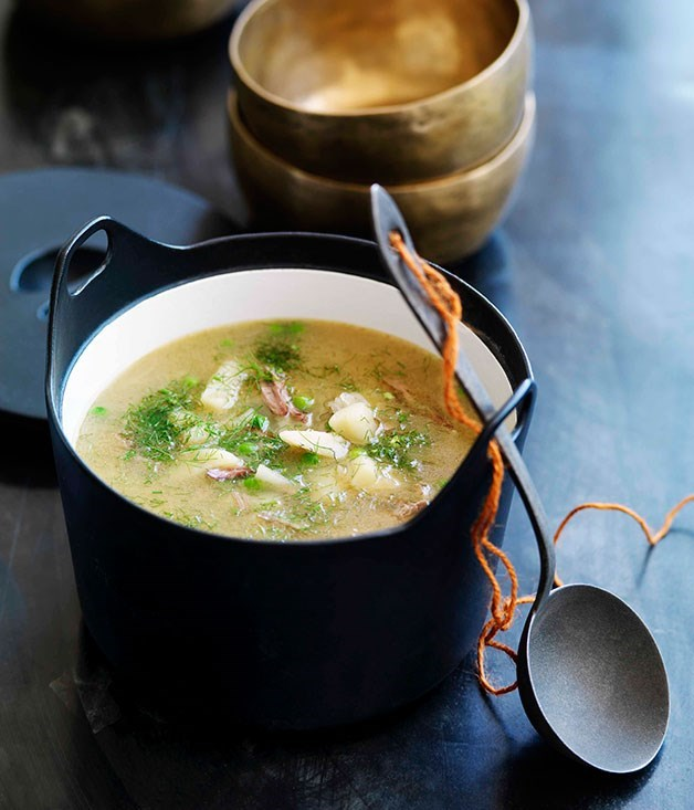 **Lamb, pea and fennel soup**