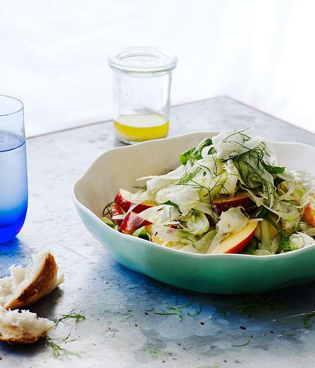 "[**Nectarine, fennel, chèvre and mint**](https://www.gourmettraveller.com.au/recipes/browse-all/nectarine-fennel-chevre-and-mint-12185|target=""_blank"")"