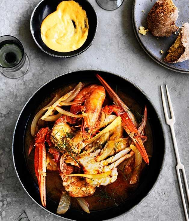 "[**Crab, prawn and fennel stew with rouille**](https://www.gourmettraveller.com.au/recipes/browse-all/crab-prawn-and-fennel-stew-with-rouille-12489|target=""_blank"")"