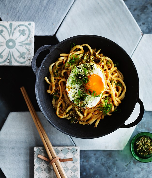 All-day noodles with fried egg and furikake