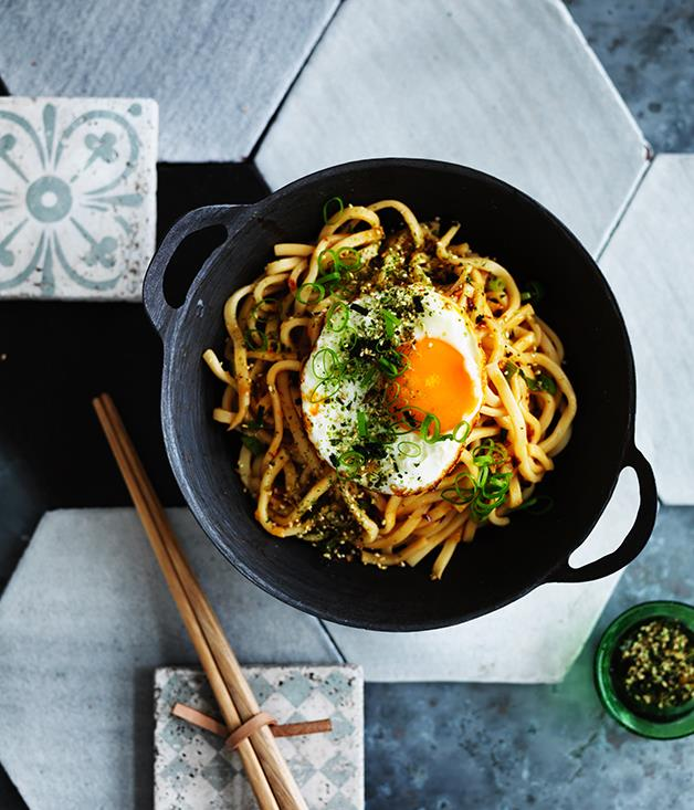 "[All-day noodles with fried egg and furikake](http://www.gourmettraveller.com.au/recipes/browse-all/all-day-noodles-with-fried-egg-and-furikake-12704|target=""_blank"")"