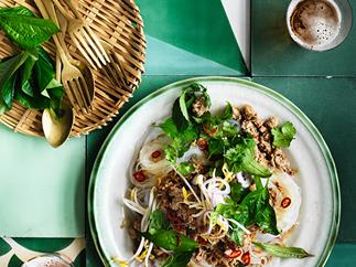 Lemongrass beef with rice noodles