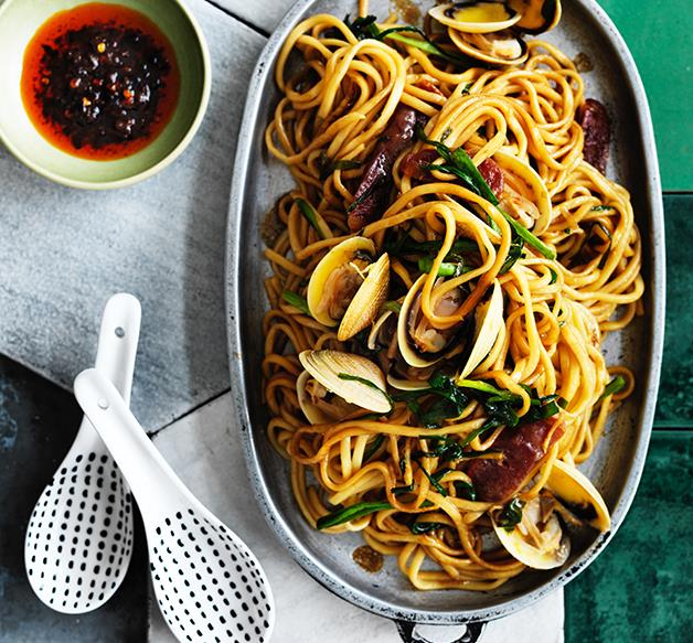Clam, sausage and black bean noodles with garlic chives