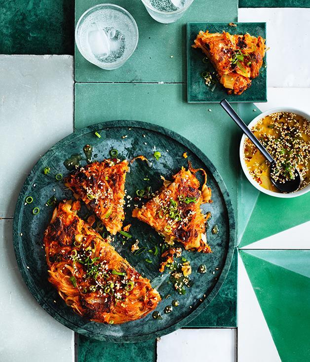 "**[Kimchi noodle pancakes](https://www.gourmettraveller.com.au/recipes/browse-all/kimchi-noodle-pancakes-12738|target=""_blank""|rel=""nofollow"")**"