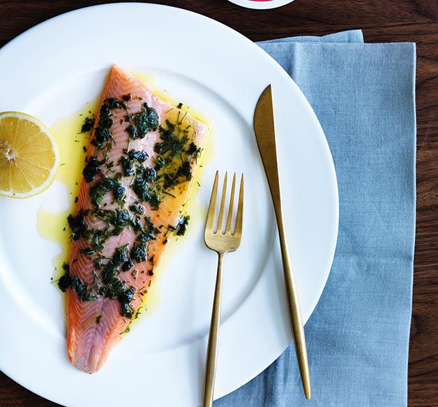 Luca's steamed trout with seaweed butter